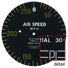 cessna bamboo bomber air speed gauge face plate