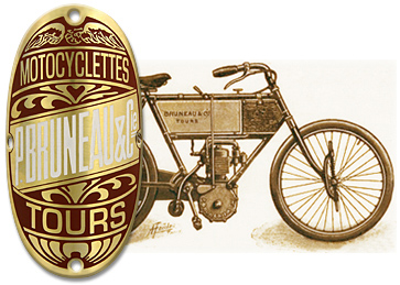 Bruneau motocyclettes tours head bike badge brass