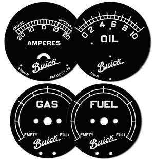 buick gauge faces fuel gas oil amps amperes black