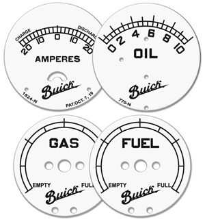 buick gauge faces fuel gas oil amps amperes white