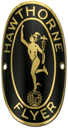 Hawthorne flyer bike badge brass