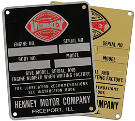 henney funeral car engine serial number plate brass and aluminum