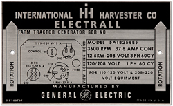 international harvester electrall serial number plate aluminum