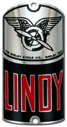 shelby lindy bike tube head badge nickel