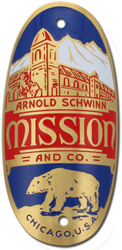schwinn mission bike tube head badge brass