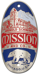 schwinn mission bike tube head badge nickel