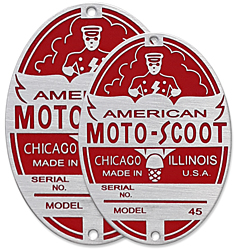 american moto scoot scooter head tube badge aluminum model 45