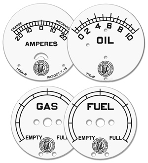 national gauge equipment gauge faces fuel gas oil amps amperes white