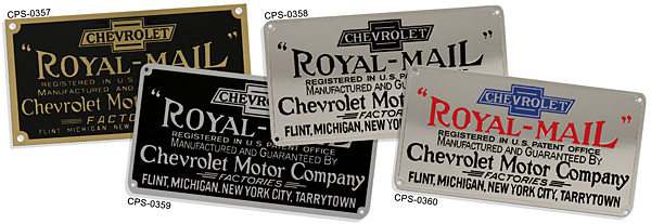 chevy chevrolet royal mail brand plate brass aluminum