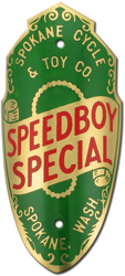 spokane cycle speedboy special bike tube head badge brass