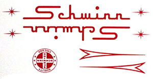 schwinn bike decal sticker set red