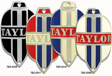 taylor stamped aluminum bike bicycle head tube badge