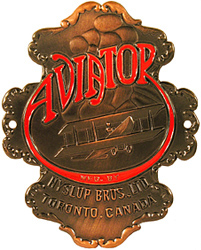 hyslup bros brothers canada aviator copper bike head badge