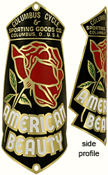 columbus cycle american rose brass bike head badge