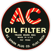 ac spark plug oil filter cannister decal sticker