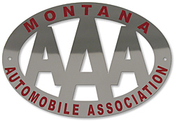 aaa montana license plate topper nickel automobile assoc. association