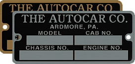 Autocar model cab chassis engine number plate brass aluminum