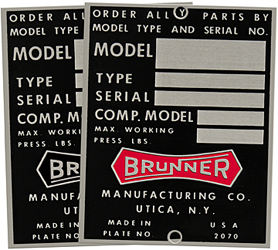 brunner model type serial number plate