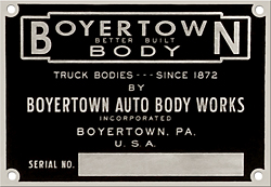 boyertown auto body works serial number plate aluminum