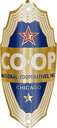 natioanl cooperatives coop co-op bike badge heat tube brass