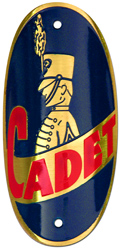 cadet bike tube head badge brass