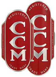 canadian ccm bike badge 2 sizes red aluminum