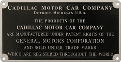 cadillac motor car patent trademark plate