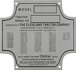 cleveland tractor cletrac model serial number plate aluminum