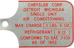 chrysler air conditioning tag aluminum