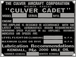 Culver aircraft Cadet data plate lubrication