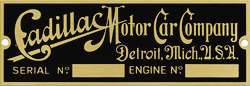 cadillac motor car company serial engine number plate brass