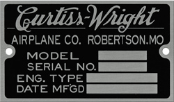 Curtiss Wright airplane robertson data plate mode sn aluminum