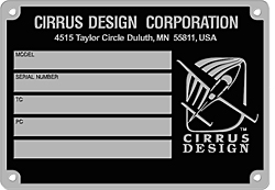 cirrus design aircraft data plate stainless steel