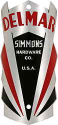 Simmons Hardware delmar bike head badge tube aluminum
