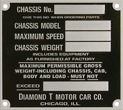 diamond t car chassis moodel number plate tag