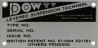 Dowty levered suspension tailwheeln data plate alum