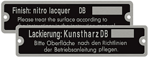 daimler-benz paint number plate english german aluminum