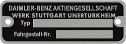 daimler-benz type chassis number plate german aluminum