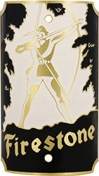 firestone archer bike tube head badge brass