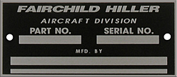 fairchild hiller part serial number data plate aluminum