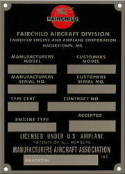 Fairchild aircraft data plate stainless steel