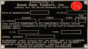 great dane trailer vintage id data plate aluminum
