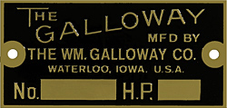 galloway motor number hp plate brass