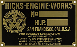 Hicks engine works marine data number hp plate tag brass