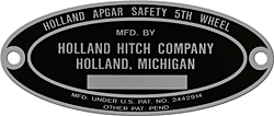 holland apgar safety fifth 5th wheel hitch plate tag aluminum