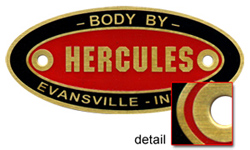 hercules body plate tag brass