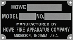 Howe fire truck data id plate tag aluminum