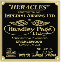 heracles imperial airways handley page data plate tag