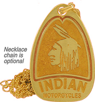indian motorcycle keychain fob necklace brass
