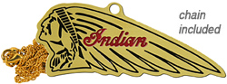 indian chief motorcycle keychain fob necklace brass